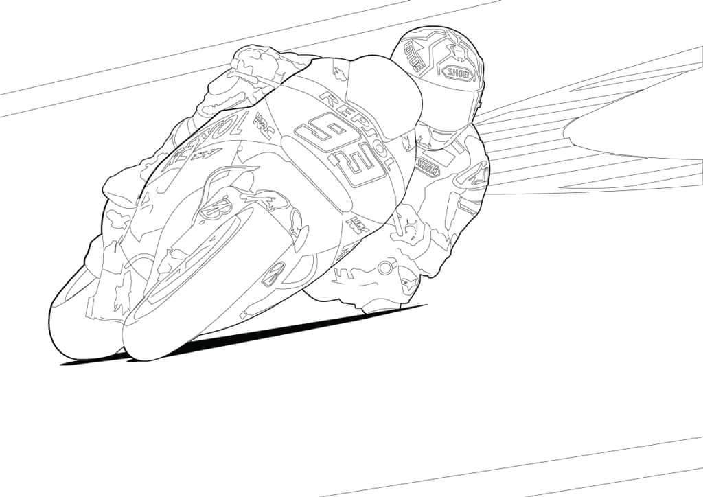 Kolorowanki motocyklowe Marc Marquez MotoGP