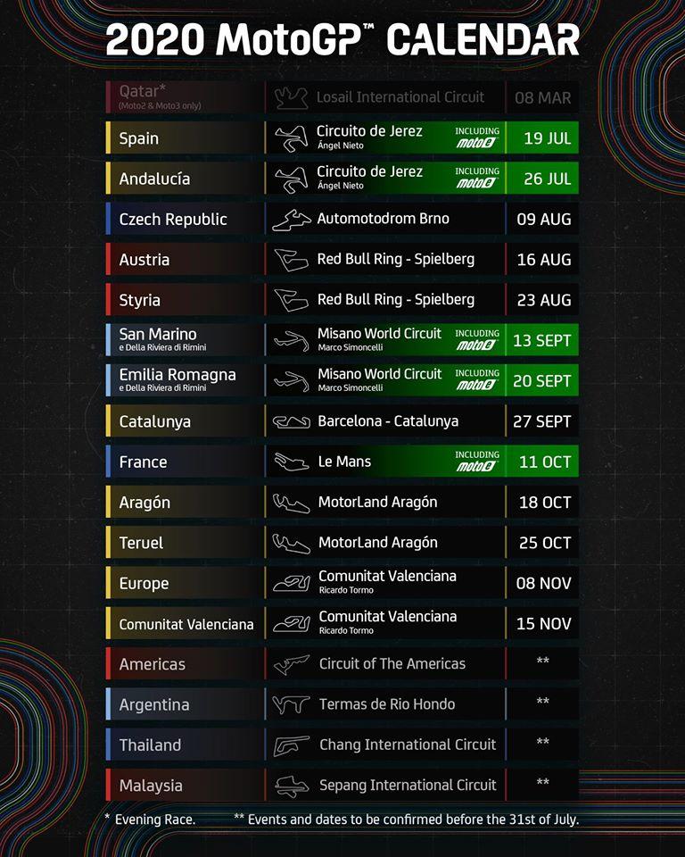 Kalendarz motogp 2020