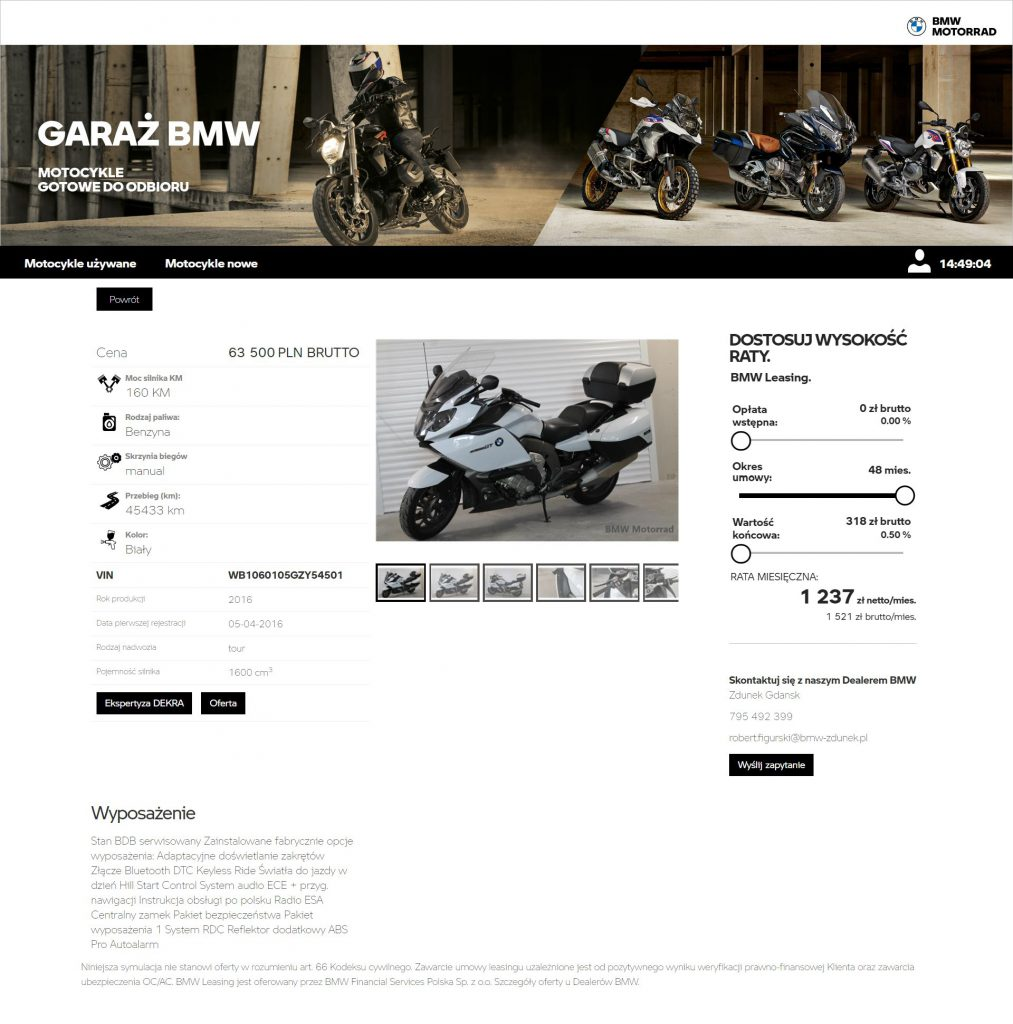 Przykładowa oferta z Garaż BMW - K 1600 GT z 2016 roku